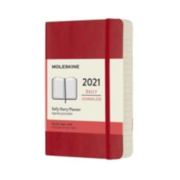 MOLESKINE 12M  DAILY  PKT S RED SOFT 2021