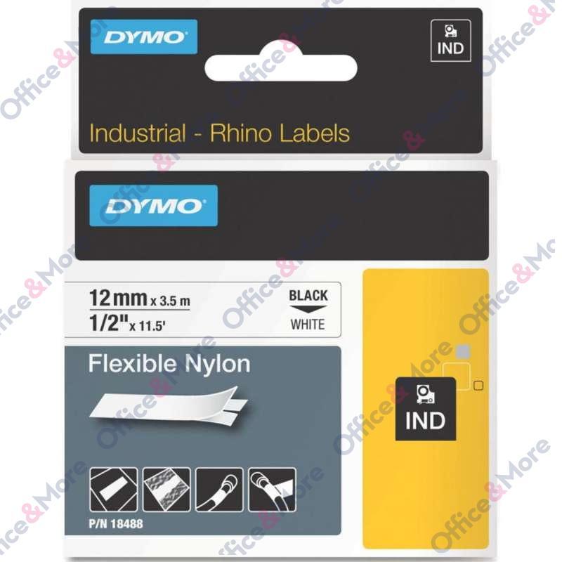 DYMO TRAKE 12mm x 3.5m CRNO NA BELO RHINO-Ind.Flex